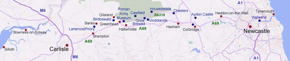 Hadrians Wall Map image